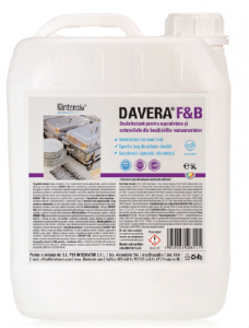 DAVERA F&B 5L - Dezinfectant pentru suprafete RTU pentru restaurante, cantine si alte locuri publice de servire a mancarii